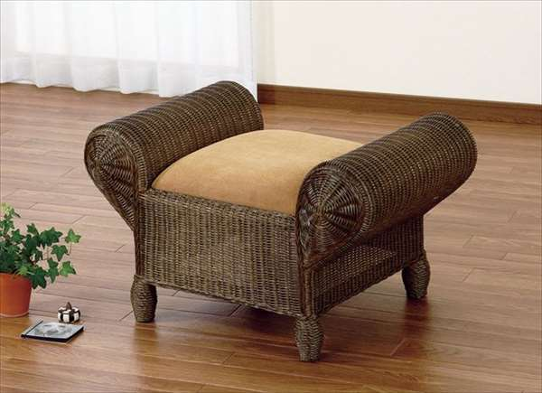 【送料無料】 スツール Y-124Bブラウン 籐 籐家具 スツール 椅子 イス アジアンリビングルーム籐ラタン製 輸入品 完成品