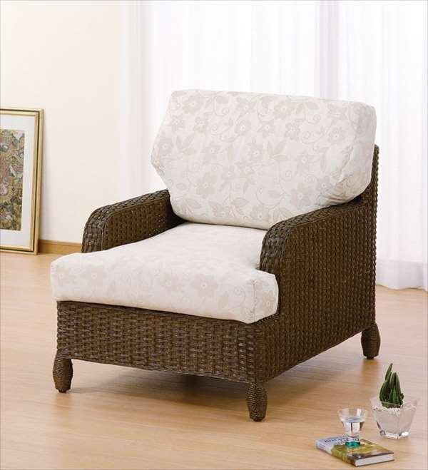 アームチェア Y-141B ダークブラウン 籐 籐家具 座椅子 椅子 イス アジアンリビングルーム籐ラタン製 輸入品 完成品