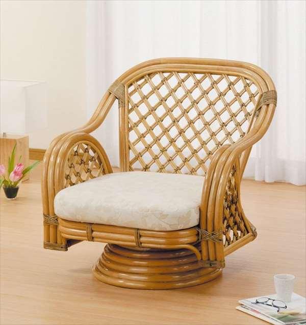 ラウンドチェア Y-150 ライトブラウン 籐 籐家具 座椅子 椅子 イス 回転式 アジアンリビングルーム籐ラタン製 輸入品 完成品