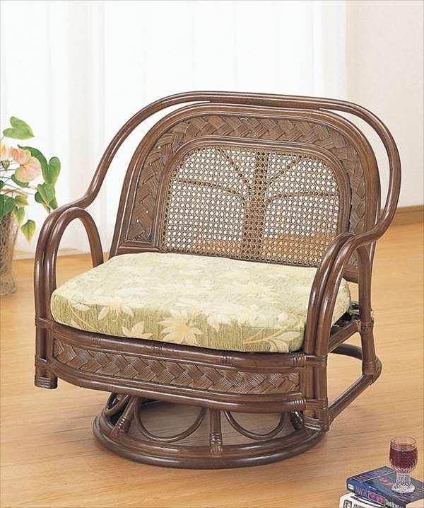 籐ワイドラウンドチェア Y-502B ブラウン 籐 籐家具 座椅子 椅子 イス 回転式 アジアンリビングルーム籐ラタン製 輸入品 完成品