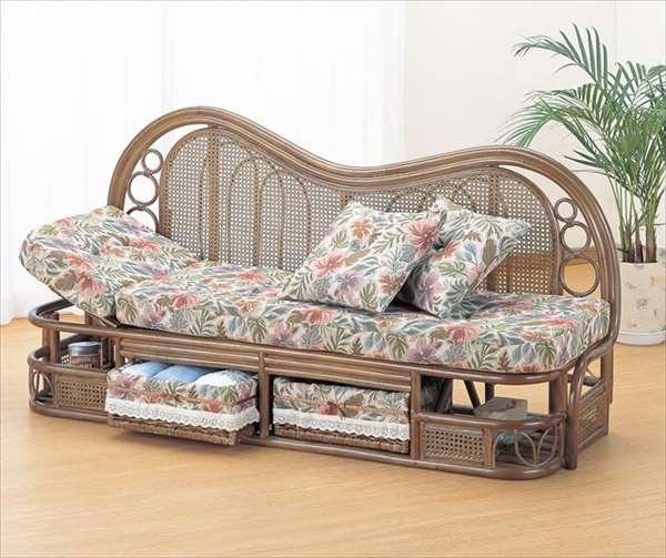 カウチソファ 幅165cmタイプ Y-513B ブラウン 籐 籐家具 カウチソファ ソファ アジアンリビングルーム籐ラタン製 輸入品 完成品