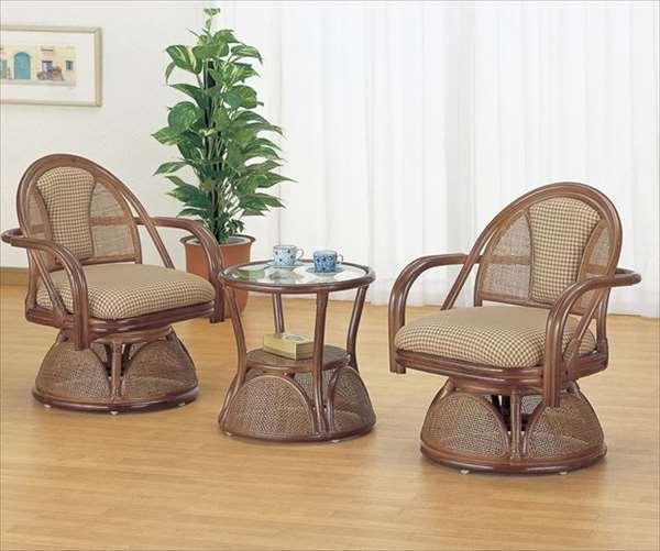 【送料無料】 リビング3点セット Y-555B ブラウン 籐 籐家具 座椅子 椅子 イス 回転式 テーブル センターテーブル アジアンリビングルーム籐ラタン製 輸入品 完成品