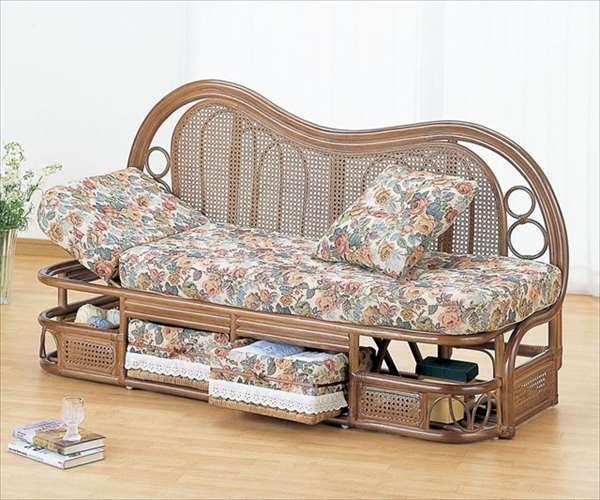 カウチソファ 幅145cmタイプ Y-612B ブラウン 籐 籐家具 カウチソファ ソファ アジアンリビングルーム籐ラタン製 輸入品 完成品