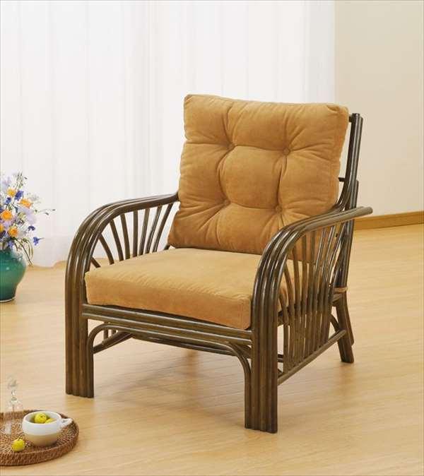 アームチェア Y-631B ブラウン 籐 籐家具 座椅子 椅子 イス アジアンリビングルーム籐ラタン製 輸入品 完成品
