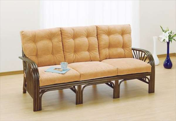 3Pラブチェア Y-633B ブラウン 籐 籐家具 チェア ラブチェア ソファ アジアンリビングルーム籐ラタン製 輸入品 完成品
