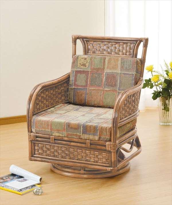 【送料無料】 ラウンドチェア Y-700 ブラウン 籐 籐家具 座椅子 椅子 イス 回転式 アジアンリビングルーム籐ラタン製 輸入品 完成品