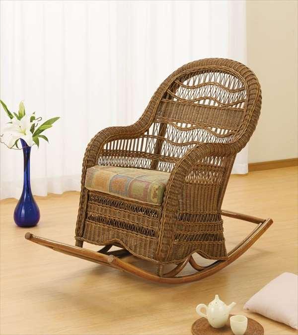 ロッキングチェア Y-708 ブラウン 籐 籐家具 座椅子 椅子 イス ロッキングチェア アジアンリビングルーム籐ラタン製 輸入品 完成品