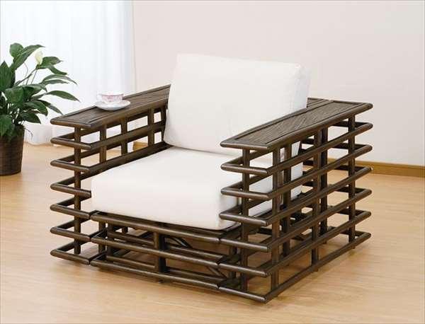 アームチェア Y-2001 ダークブラウン 籐 籐家具 ベンチ 椅子 イス アジアンリビングルーム籐ラタン製 輸入品 完成品