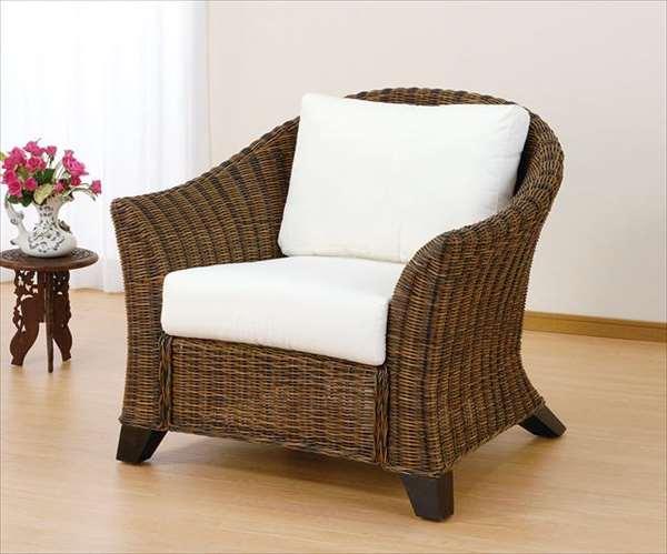 アームチェア Y-3001 ダークブラウン 籐 籐家具 ベンチ 椅子 イス アジアンリビングルーム籐ラタン製 輸入品 完成品