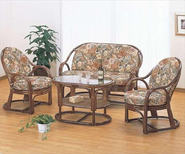 リビング4点セット Y-55560B ブラウン 籐 籐家具 チェア ラブチェア ソファ テーブル センターテーブル アジアンリビングルーム籐ラタン製 輸入品 完成品