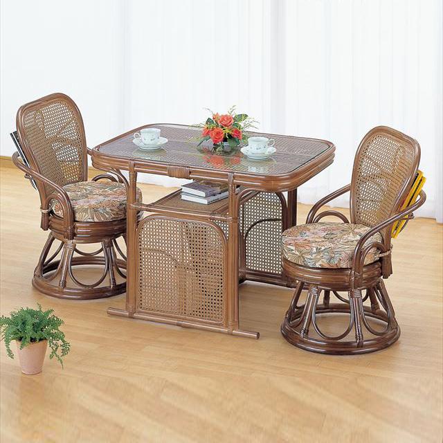 ラウンドチェア&テーブル3点セット Z-802 ブラウン 籐 籐家具 チェア テーブル センターテーブル アジアンリビングルーム籐ラタン製 輸入品 完成品