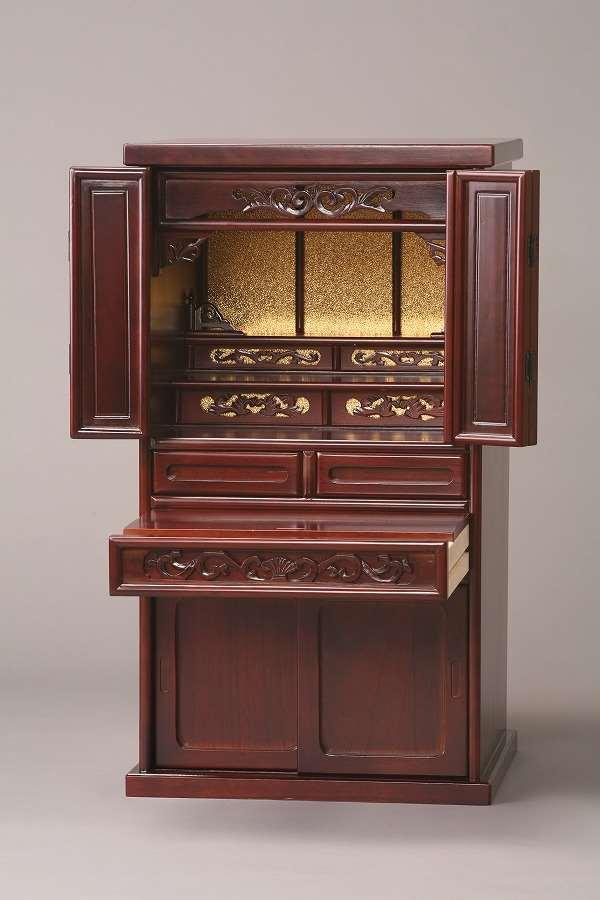 【代引不可】 彫刻入り仏壇28号 ダークブラウン 上置仏壇 仏壇 収納 和風 和室 木製 輸入品 完成品