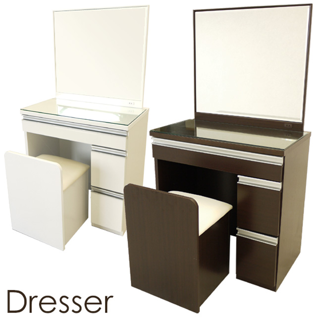 【送料無料】 70ドレッサー 椅子付き シンプルでスクエアなフォルム コンセント付き 木目調ブラウンとつやつやホワイト イスは座面下収納付き!木製 化粧台 鏡 鏡台家具 uk88
