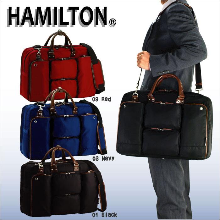 (ハミルトン) 2室 撥水 ビジネスバッグ ブリーフケース 3WAY (カラー:ブラック) 26608 マチW メンズ 軽量 HAMILTON