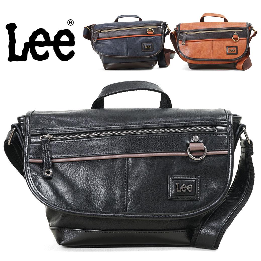 【全品クーポン&キャッシュレス5%対象】ショルダーバッグ メンズ Lee リー ライジング PU 斜めがけ かっこいい フラップ かぶせ 横型 ブランド プレゼント 鞄 かばん カバン bag (320-3501) 海外旅行バッグ men's