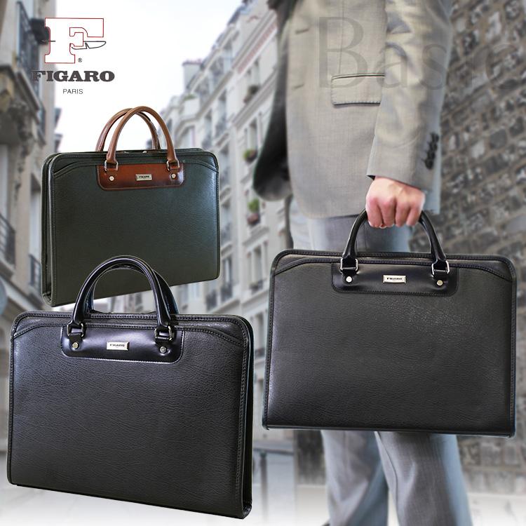 【全商品クーポン配布中】 ブリーフケース メンズ ビジネスバッグ FIGARO フィガロ Basic ベシック 合成皮革 A4 横型 三方開き 日本製 バッグ メンズバッグ ブランド プレゼント 鞄 かばん カバン bag 通勤バッグ 送料無料