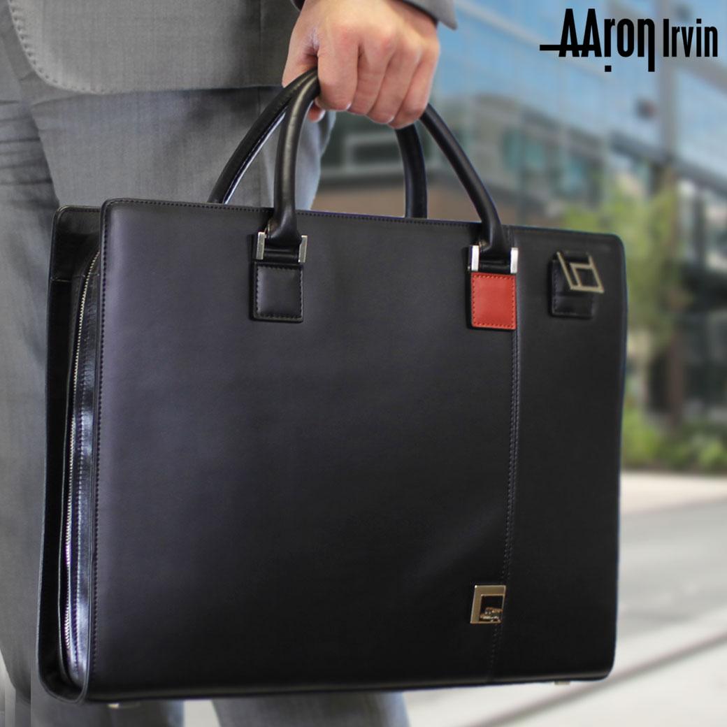 ブリーフケース メンズ ビジネスバッグ Aaron Irvin アーロン・アーヴィン Leather Business レザービジネス 本革 牛革 2WAY A4 横型 ショルダーバッグ ショルダー付 三方開き バッグ メンズバッグ ブランド プレゼント ランキング ギフト 通勤バッグ
