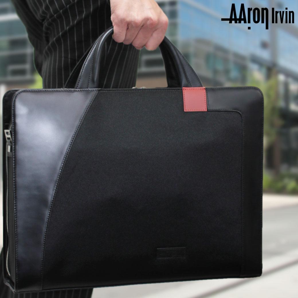 ブリーフケース ビジネスバッグ メンズ Aaron Irvin アーロン・アーヴィン Microfiber Business マイクロファイバービジネス 革付属コンビ 2WAY B4 ショルダーバッグ ショルダー付 撥水 メンズバッグ ブランド プレゼント 鞄 かばん カバン bag 通勤バッグ 送料無料 men's