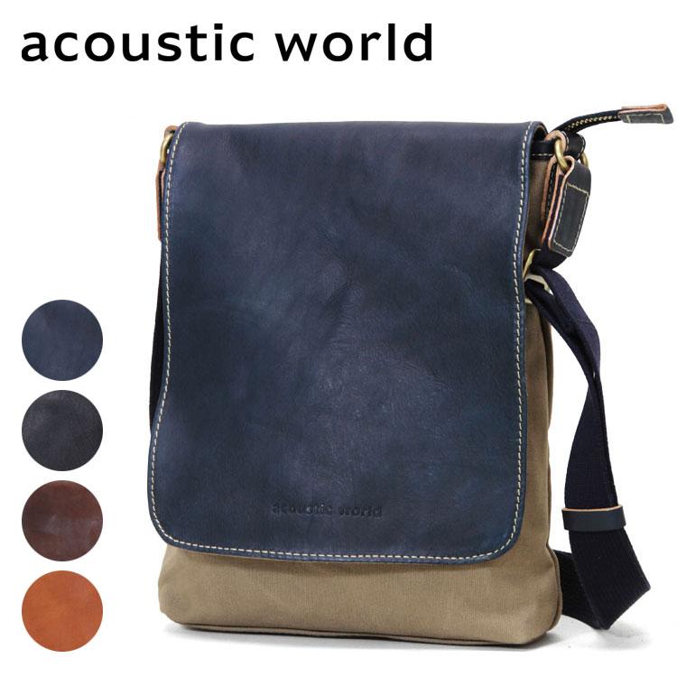 ショルダーバッグ メンズ acoustic world アコースティック・ワールド Franck フランク 肩掛け 斜めがけバッグ 革付属コンビ A4未満 縦型 ペットボトル収納 軽量 日本製 撥水 バッグ メンズバッグ ブランド プレゼント ランキング ギフト 小さめ