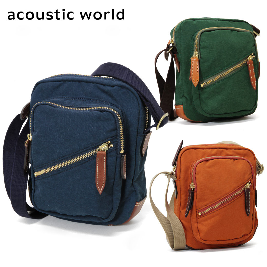 ショルダーバッグ メンズ acoustic world アコースティック・ワールド Grunge グランジ 肩掛け 斜めがけバッグ 革付属コンビ A4未満 縦型 軽量 日本製 撥水 バッグ メンズバッグ ブランド プレゼント ランキング ギフト 小さめ