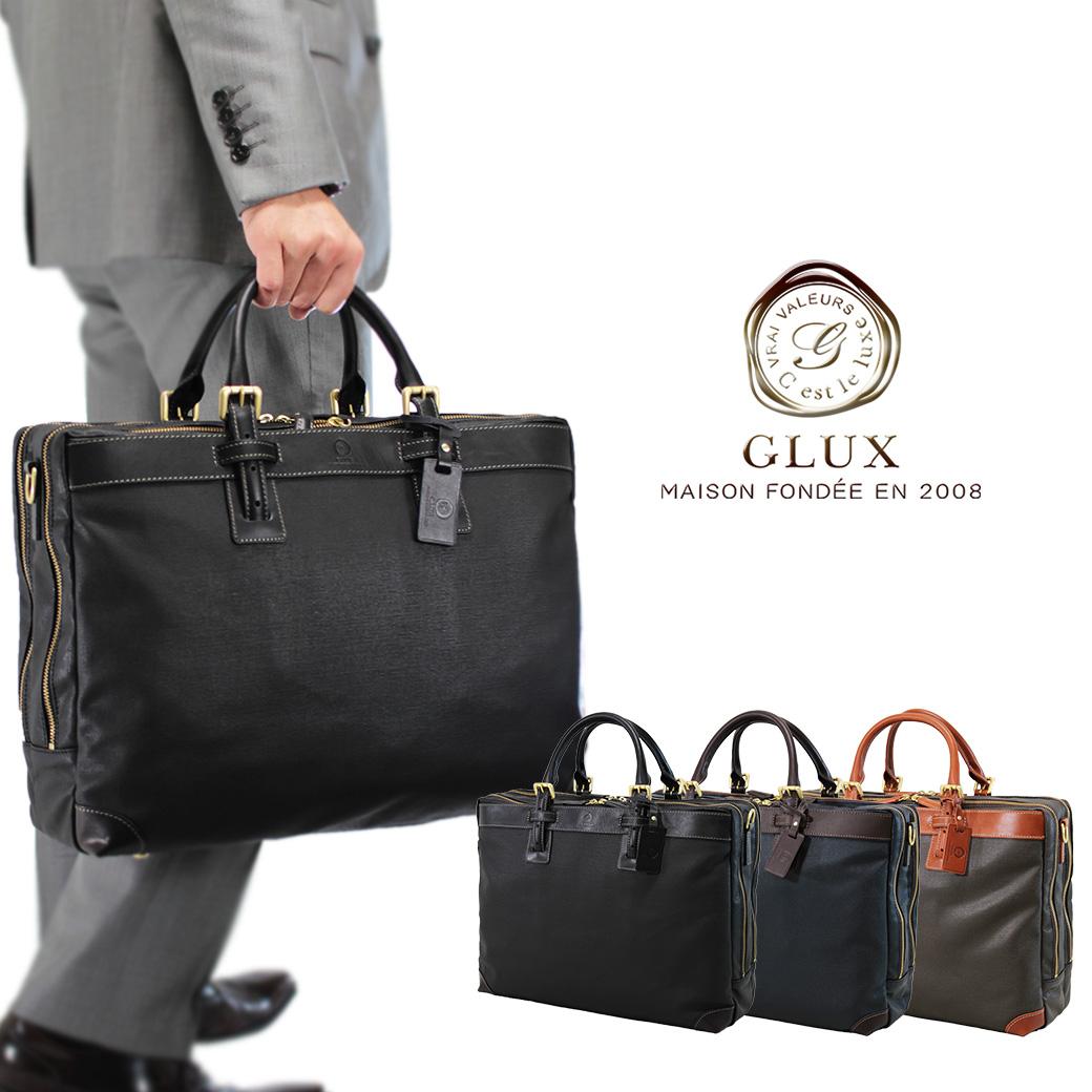 ブリーフケース ビジネスバッグ メンズ GLUX グラックス Bag 革付属コンビ 2WAY 2ルーム B4 横型 ノートPC対応 ショルダーバッグ ショルダー付 三方開き バッグ メンズバッグ ブランド プレゼント 通勤バッグ 送料無料 business bag men's