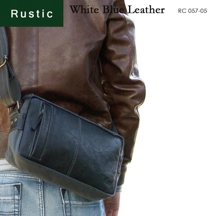 ショルダーバッグ メンズ Rustic ラスティック ホワイトブルー・レザー 肩掛け 斜めがけバッグ 革付属コンビ A4未満 横型 軽量 日本製 バッグ メンズバッグ ブランド プレゼント ランキング ギフト 小さめ