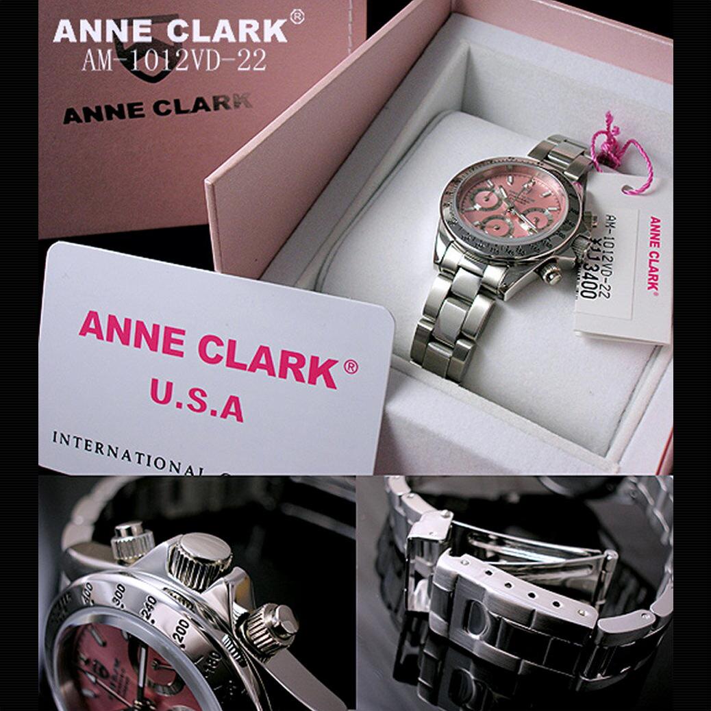 【ラッピング無料】腕時計 ANNE CLARK クロノグラフ ピンク文字盤 [AM-1012VD-22]アンクラーク レディース メタルベルト 腕時計 時計 婦人 レディース レディースウォッチ リストウォッチ 防水 ANy07kpl