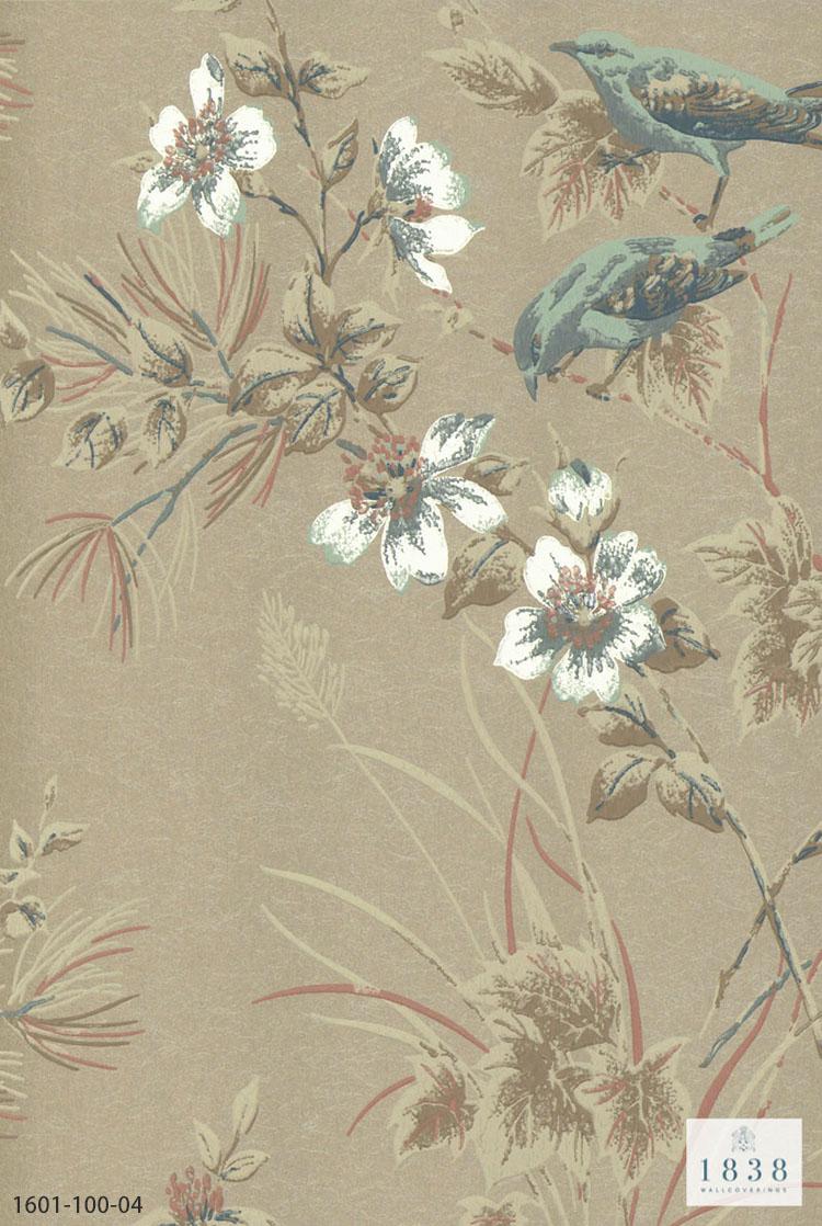 楽天市場 送料無料 輸入壁紙 イギリス製 花柄 鳥 かわいい バード