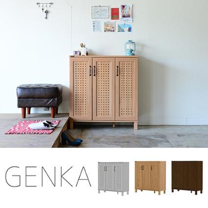 GENKA(ジェンカ)シューズ&ストッカー(90cm幅)ホワイト/ナチュラル/ブラウン