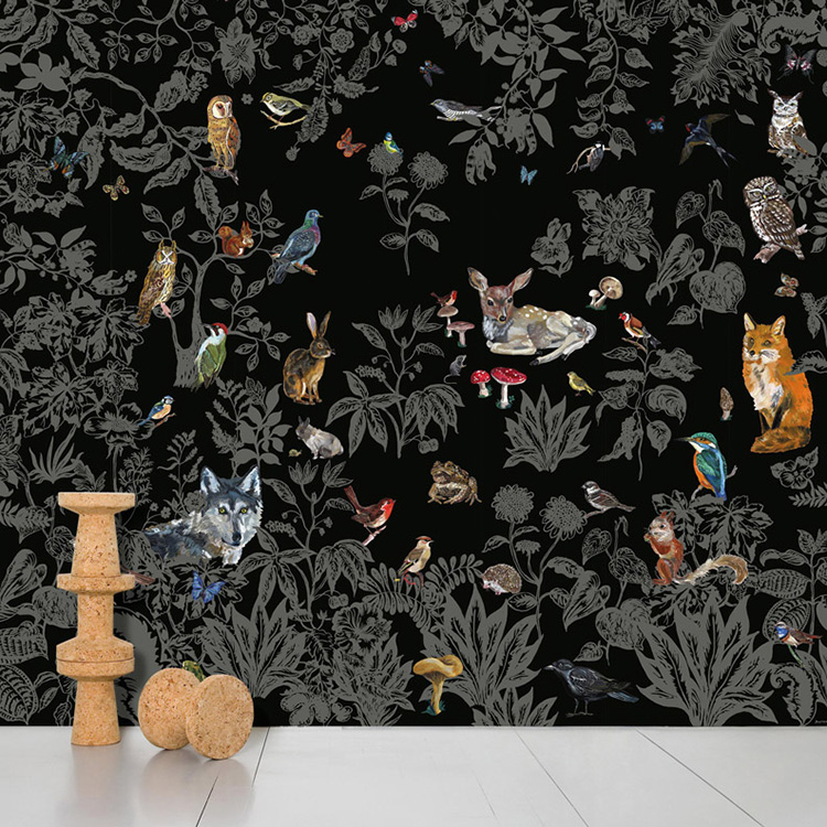 Domestic / ドメスティック Foret Noire ナタリーレテ 輸入壁紙ナタリー・レテ 森 動物 ブラック NDL041 ナタリー レテ  (巾372cm×高さ3m 8パネル 1セット販売で販売)[国内在庫]