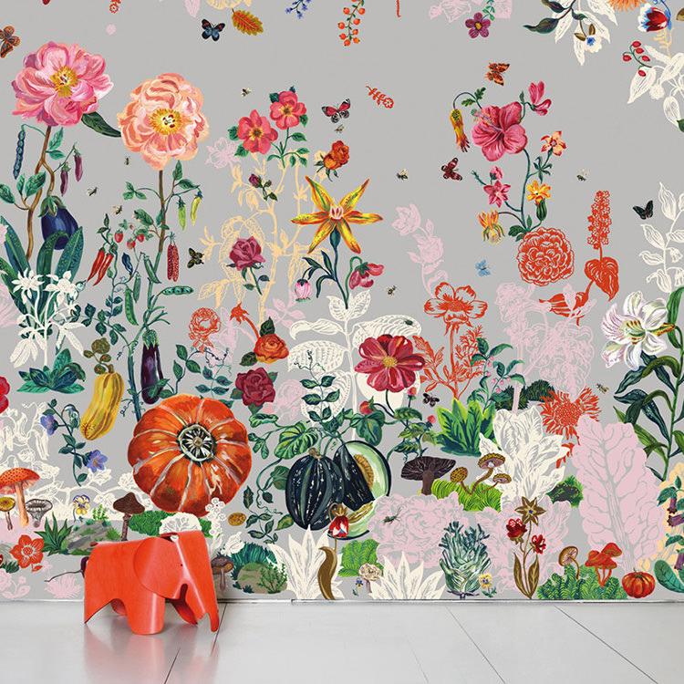 Domestic / ドメスティック Jardin Gris ナタリーレテ 輸入壁紙ナタリー・レテ フラワー ガーデン グレー NDL043 ナタリー レテ  (巾372cm×高さ3m 8パネル 1セット販売で販売)[国内在庫]