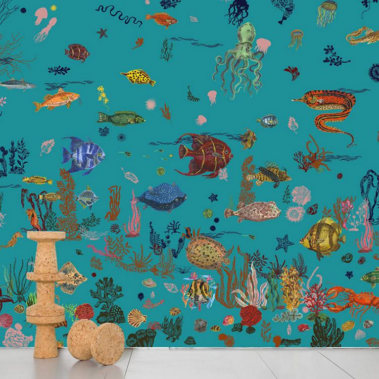 Domestic / ドメスティック Sous la Mer Blue ナタリーレテ 輸入壁紙ナタリー・レテ 海 ブルー NDL058 ナタリー レテ (巾372cm×高さ3m 8パネル 1セット販売で販売)[国内在庫]