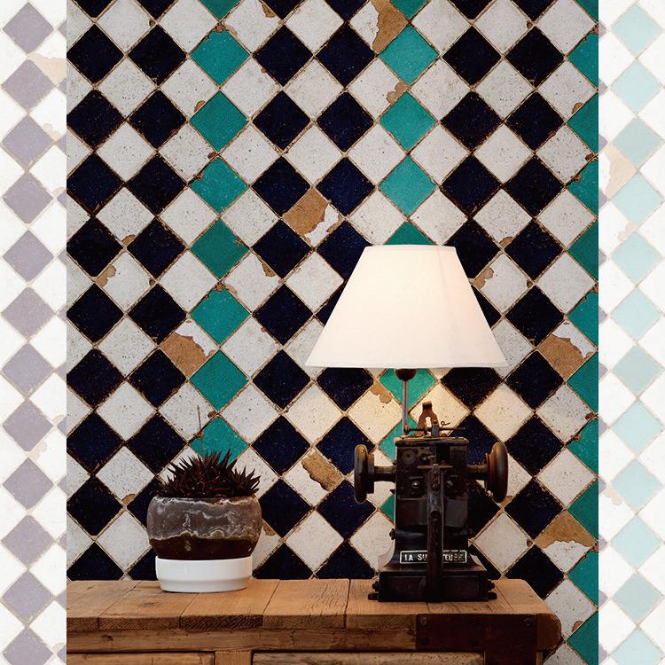はってはがせる輸入壁紙 スペイン製 ブルーム・ペーパーズ Tourquoise Chess1ロール(46.5cm×9m)単位で販売フリース壁紙(不織布)