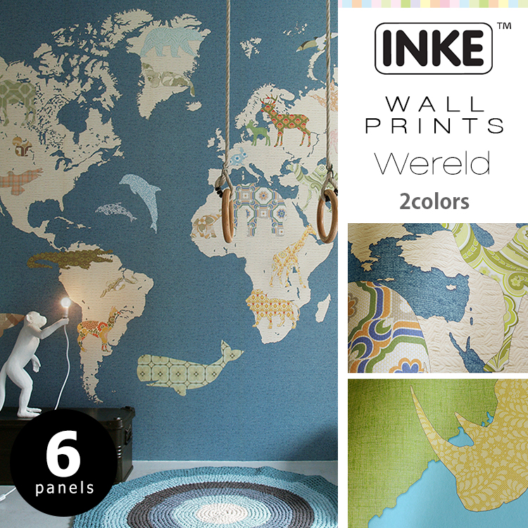 輸入壁紙 オランダ製 インケ Wereld6パネル1セットフリース壁紙(不織布)