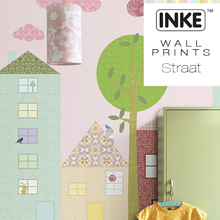 輸入壁紙 オランダ製 インケ Street4パネル1セットフリース壁紙(不織布)