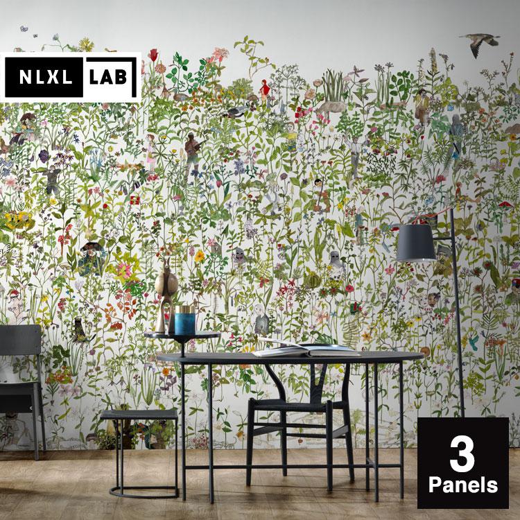 輸入壁紙 オランダ製 NLXL / NLXL LAB 3 IN THE GARDEN WALLPAPER BY ANNA SURIE / ASU-01 【3パネルセット】(1セット(146.1cm×350cm)単位で販売)フリース(不織布)【海外取り寄せ商品】