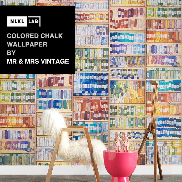 輸入壁紙 オランダ製NLXL LAB Colored Chalk Wallpaper / Mr & Mrs Vintage エヌエルエックスエル・ラボ(1ロール(48.7cm×10m)単位で販売)フリース(不織布)【国内在庫】