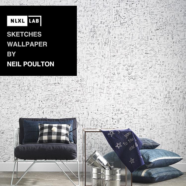 輸入壁紙 オランダ製NLXL LAB Sketched Wallpaper / Neil Poulton エヌエルエックスエル・ラボ(1ロール(48.7cm×10m)単位で販売)フリース(不織布)【国内在庫】