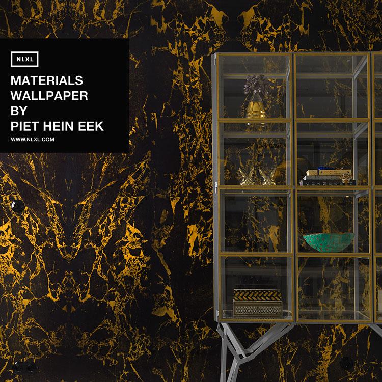 輸入壁紙 オランダ製 NLXL / MATERIALS WALLPAPER BY PIET HEIN EEK BLACK METALLIC MARBLE / PHM-70 & 71(2本セット(48.7cm×10m)単位で販売)フリース(不織布)【海外取り寄せ商品】