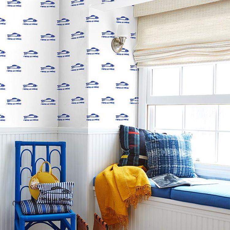 【最大5000円引きクーポン!1/5まで】 はがせる 壁紙 シール wallshoppe(ウォールショップ) / Sardines-Blue 貼ってはがせる シール 壁紙 リメイクシート