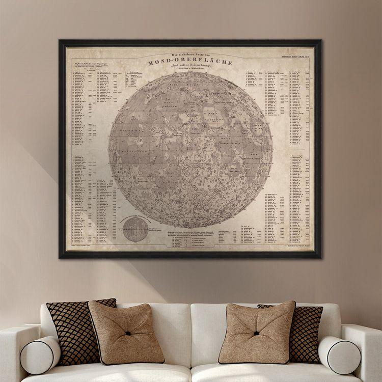 MINDTHEGAP WALL ART / Map of the Moon 1880 FA12206 アートパネル 絵画 壁掛け インテリア 壁飾り アート ウォール フレーム 壁紙屋本舗