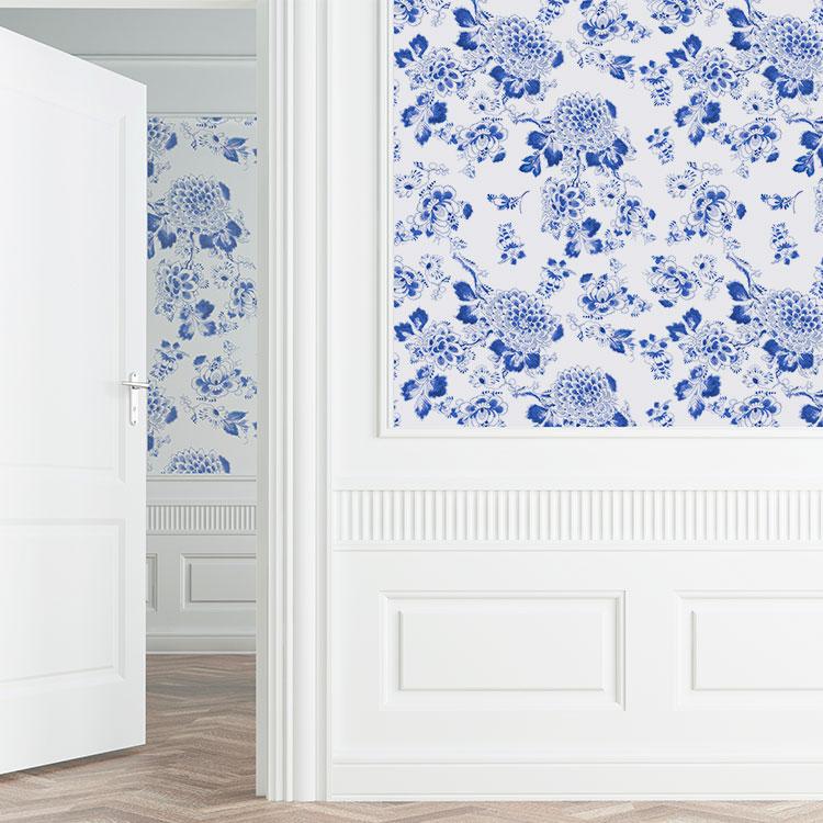 はってはがせる輸入壁紙 オランダ製 ロイヤル・デルフト 1ロール(52cm×10m)単位で販売 フリース壁紙(不織布) 壁紙屋本舗