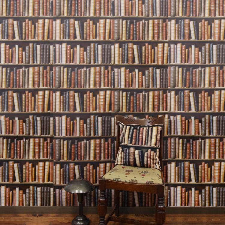 书架上壁纸进口壁纸做法国科杰乌/编码器 (1 卷 (7.68 米) 为单位出售) 羊毛和表面是乙烯书目 (Byblio)