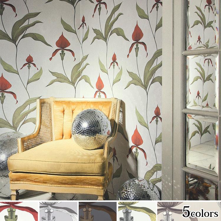 輸入壁紙 イギリス製 コール・アンド・サン Orchid 1ロール(53cm×10m)単位で販売 フリース壁紙(不織布) 【海外取寄】 壁紙屋本舗