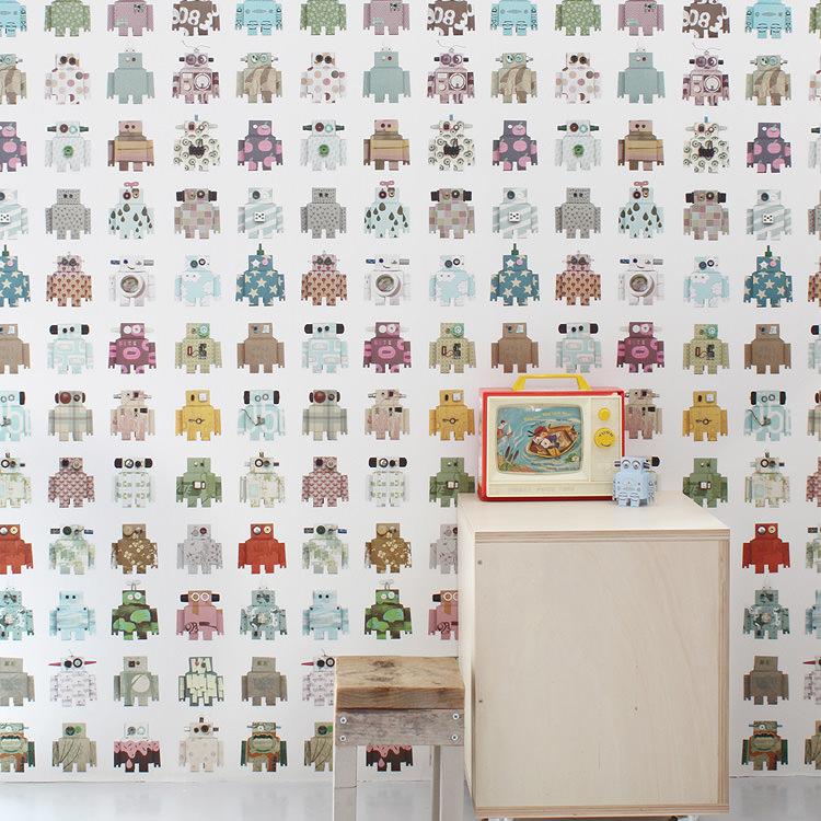 輸入壁紙 オランダ製 スタジオ・ディッテ Robot1ロール(48.5cm×6m)単位で販売フリース壁紙(不織布) 【海外取寄】