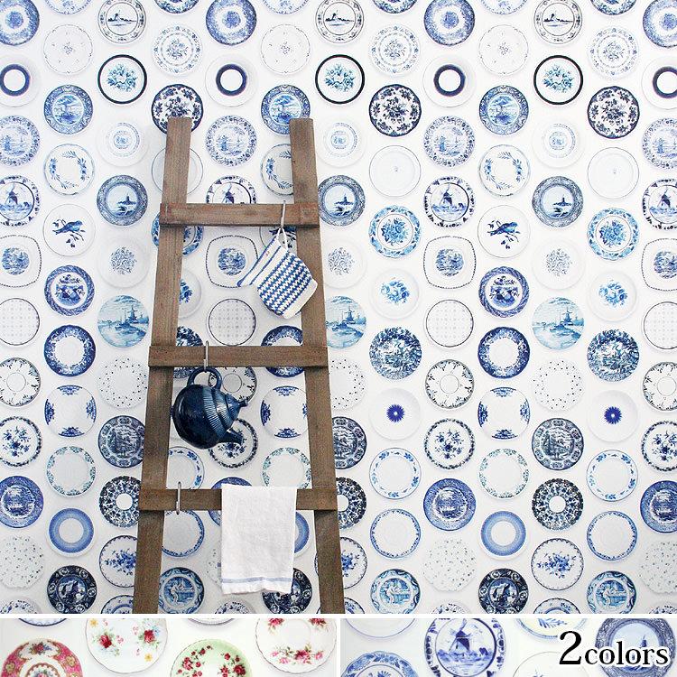 輸入壁紙 オランダ製 スタジオ・ディッテ Porcelain1ロール(48.5cm×6m)単位で販売フリース壁紙(不織布) 【海外取寄】