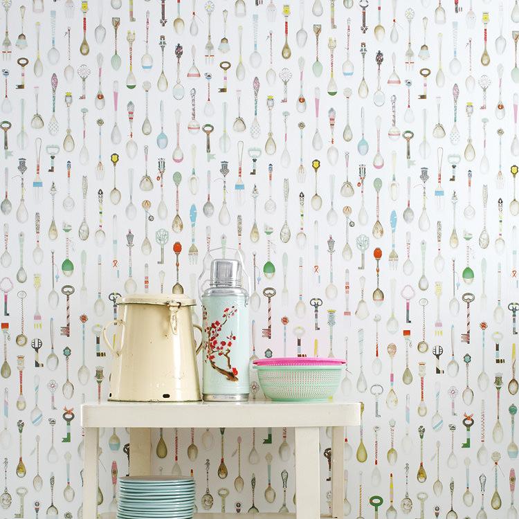 はってはがせる 輸入 壁紙 オランダ製 スタジオ・ディッテ Teaspoons 1ロール(48.5cm×6m)単位で販売 フリース壁紙(不織布) 壁紙屋本舗