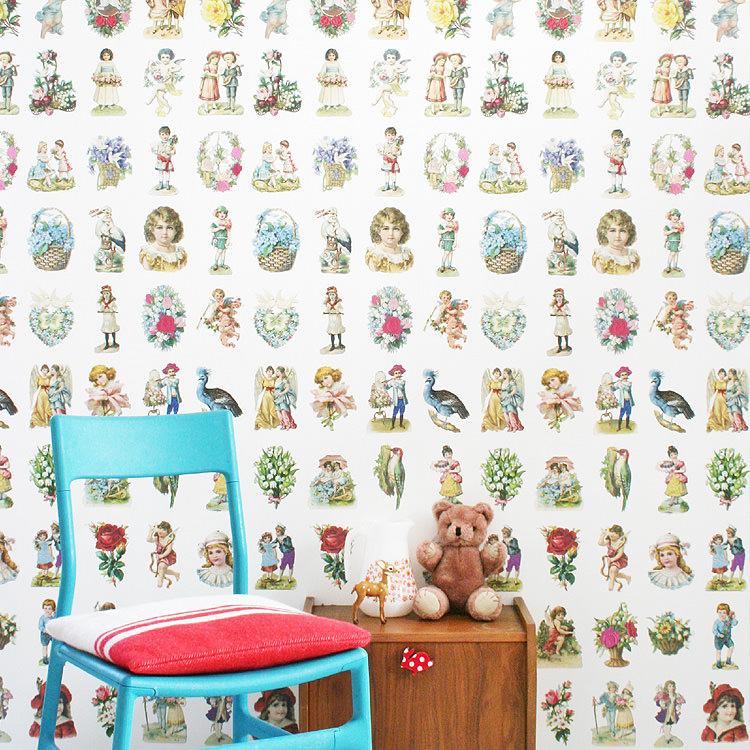 はってはがせる 輸入 壁紙 オランダ製 スタジオ・ディッテ Vintage Scraps 1ロール(97cm×3m)単位で販売 フリース壁紙(不織布) 壁紙屋本舗