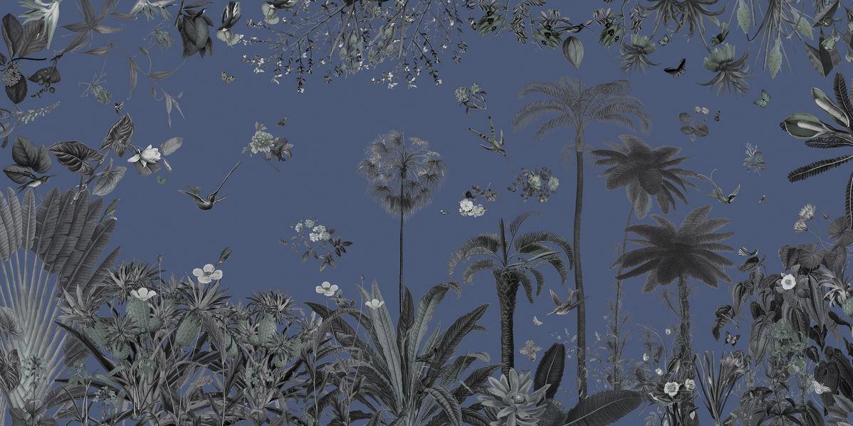 アートパネル 10cm単位でサイズオーダーできる 絵画 壁掛け インテリア 壁飾り キャンバス アート ウォール ボタニカル 植物 青 e315542 壁紙屋本舗