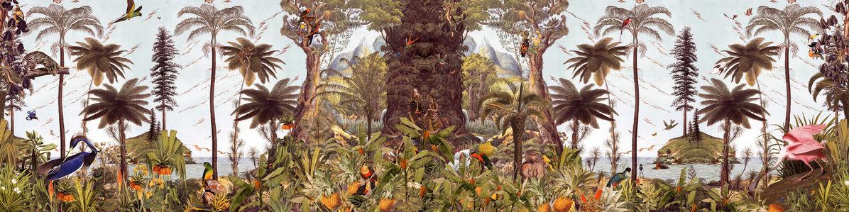 アートパネル 10cm単位でサイズオーダーできる 絵画 壁掛け インテリア 壁飾り キャンバス アート ウォール 植物 森 ジャングル トロピカル e320908